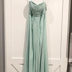 David's Bridal Mint Chiffon Gown